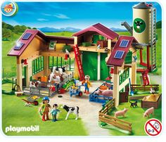 Playmobil barn with silo - this stuff is built tough! Kai played with it in Bozeman toy store and loved it :)