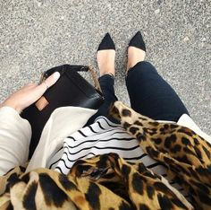 Loving the leopard mixed with Breton stripe