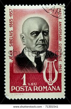 Stamps printed in Romania show Jean Sibelius