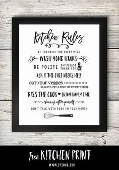 FREE Kitchen Rules Printable - so cute! Print and stick in a frame for a cute kitchen decor piece. FREE Kitchen Rules Printable - so cute! Print and stick in a frame for a cute kitchen decor piece. Kitchen Rules, Cute Kitchen, Kitchen Signs, Country Kitchen, Western Kitchen, Red Kitchen, Vintage Kitchen, Kitchen Prints, Kitchen Wall Art