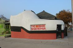 If you're driving along Chester Avenue in Bakersfield, California, you don't want to miss the Big Shoe Repair Shop Roadside Attraction. Keep your eyes open and camera ready.