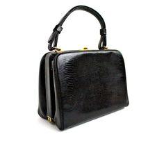 Black Vintage Purse  Vintage 1960s Box Bag.