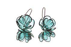 peony earrings, turquois from PET bottles, by Gülnur Özdaglar