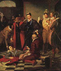 Henri III de France- Vision romantique de l'assassinat du duc de Guise par Duprat 19°s. Cette scène rassemble divers éléments qui ont fait la légende rose d'Henri III. Sur la droite se trouvent 2 mignons  ridicules par leur attitude et leur costume de couleur jaune et rose. L'artiste a mis entre les mains de l'un d'eux un bilboquet qui donne un caractère frivole. La scène n'a rien d'historique à cause de la présence  de ces 2 figures, et par le mépris ici manifesté au cadavre du duc de Guise