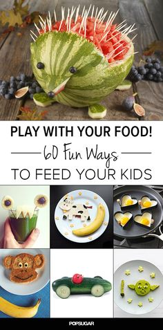 Play With Your Food! 60 Fun Ways to Feed Your Kids - Love these fun kids food ideas! Cute Food, Good Food, Yummy Food, Toddler Meals, Kids Meals, Food Crafts, Kids Crafts, Cooking With Kids, Cooking Ideas