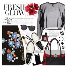 """""""Untitled #1925"""" by anarita11 ❤ liked on Polyvore featuring Topshop, Yves Saint Laurent, Nine West, Cynthia Rowley, MAC Cosmetics, Maybelline, Givenchy and Kate Spade"""