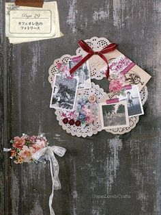 Doily Photo Wreath ~ This would be a nice way to cluster photos and embellishments together for a single page element...just lovely.