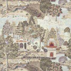 Peacock Garden Fabric - Linen/Silver (321685) - Zoffany Jaipur Prints & Embroideries Collection