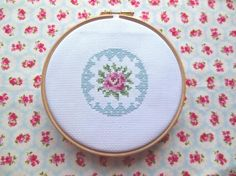 Rose Cross Stitch Pattern Cath Kidston Style-   If you are in to all things Cath Kidston at the moment then you will love this cross stitch pattern, its simple to do and looks very pretty when made up.