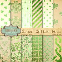 Check out Celtic Green Foil Digital Paper by Origins Digital Curio on Creative Market