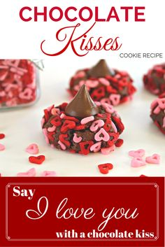 Say I Love You with these super delicious Chocolate Kiss Valentine's Day Cookies. Easy to make and kid friendly! Valentines Day Cookie Recipe, Kiss Cookie Recipe, Valentines Day Desserts, Valentine Treats, Cookie Recipes, Dessert Recipes, Valentine Party, Holiday Desserts, Holiday Baking