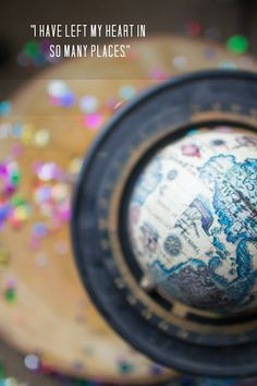 Travel . inspiration . quote . wanderlust . globe . photography . glitter . ombre . travel quote .