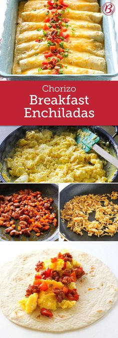 Chorizo Breakfast Enchiladas Calling all savory breakfast lovers! You'll soon be making these unforgettable Chorizo Breakfast Enchiladas over and over. Loaded with eggs, chorizo, red peppers, crispy hash browns, bacon and cheese – then smothered in Old El Chorizo Breakfast, Breakfast Enchiladas, Cheese Enchiladas, Savory Breakfast, Breakfast Burritos, Breakfast Dishes, Breakfast Time, Best Breakfast, Breakfast Casserole