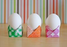 "These easy origami egg cups are folded from 6"" squares of origami paper. They took me just a minute or..."