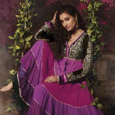 Pink and Purple Faux Georgette Abaya Churidar Kameez
