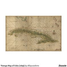 Vintage Map of Cuba (1639) Poster