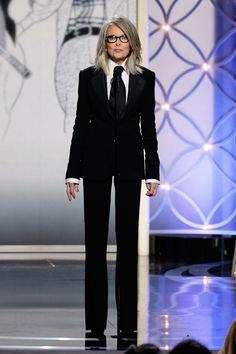 Diane Keaton on stage at the Golden Globes