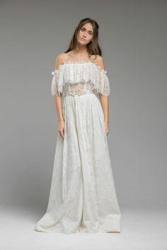 French lace vintage inspired, bohemian wedding dress by Katya Shehurina - Maya