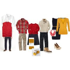 These outfits are colorful and nicely put together for a great fall family photograph.