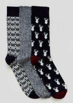 3 Pack Stag Christmas Socks - Matalan