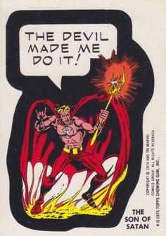 MARVEL SUPER HEROES 1976 STICKER CARD SON OF SATAN