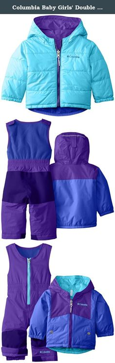 Columbia Baby Girls' Double Flake Reversible Set, Grape/Hyper Purple, 6-12 Months. This comfy, toasty jacket-and-bib snow set is reversible for twice the style options, featuring a waterproof microbe shell fabric that's soft and cozy no matter which side is in or out and 170g of our synthetic insulation to keep little snow lovers warm. The vest-style bib upper provides an easy to wear, secure fit, and special outgrown cuffs extend to accommodate for growth over multiple seasons.