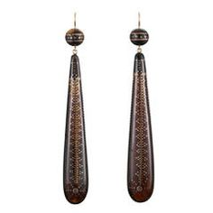 Victorian Tortoiseshell Pique Torpedo Pendant Earrings