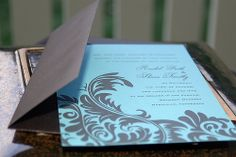 invite Invite, Invitations, Place Settings, Blue Brown, October, Wedding Ideas, Colours, Frame, Modern