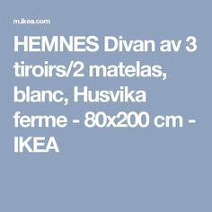 HEMNES Divan av 3 tiroirs/2 matelas, blanc, Husvika ferme - 80x200 cm - IKEA