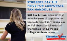 Today is Tax Day, and not everyone is paying their fair share. Five years of corporate tax handouts to 288 of the most profitable companies has reduced financial aid for 8.5 college students in need.