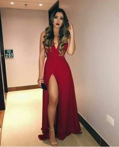 Sexy V neck Red Prom Dress with Slit, A Line Prom Dresses, Long Evening Dress - Sexy V neck Red Prom Dress with Slit, A Line Prom Dresses, Long Evening Dress - V Neck Prom Dresses, Dance Dresses, Sexy Dresses, Cute Dresses, Beautiful Dresses, Evening Dresses, Formal Dresses, Summer Dresses, Wedding Dresses