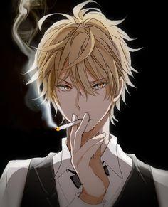 Tags: Anime, Cigarette, Smoking, Durarara!!, Heiwajima Shizuo, Black Background, Hishi
