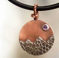 Amethyst Moon over mountains mixed metal copper and brass pendant | Metal_Artistry - Jewelry on ArtFire