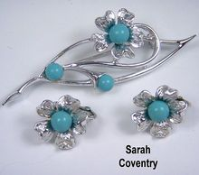 'Blue Note' brooch & earrings set