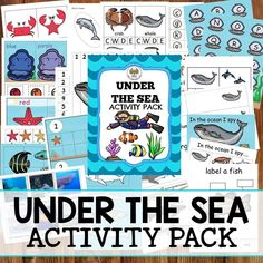 """Under the Sea Activity Pack is full with activities for preschoolers to learn and have fun! Tina H. said, """"Great set so much to offer & I will use of it unlike many other units! Free Preschool, Preschool Printables, Fish Under The Sea, File Folder Activities, Letter Identification, Pre K Activities, Letter Matching, Literacy Skills, Ocean Themes"""