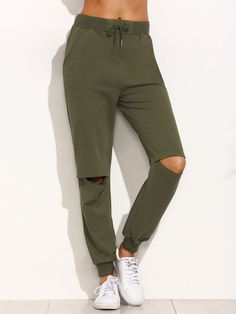 Cutout Knees Tapered Leg Joggers. Trousers Army Green Cotton Casual