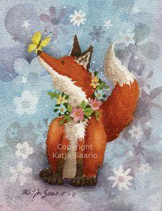Fun, Fox n Flowers. Fox Dance, Fox Illustration, Art Illustrations, Fox Art, Cute Fox, The Little Prince, Red Fox, Pastel, Fantasy Art