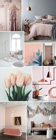 The French Bedroom / Blush pink / Pantones Colour of the year 2016 Amethyst / Velvet pink sofas with gold and copper. Bedroom Green, Bedroom Colors, Blue And Pink Bedroom, Blush Grey Copper Bedroom, Pink Grey, White Bedroom, Dusty Pink Bedroom, Pink Master Bedroom, Green Bedrooms