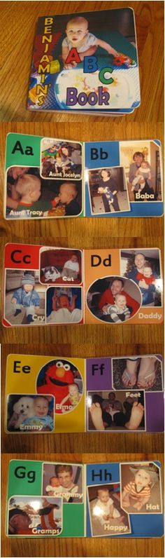 First birthday gift for Ben! Personalized ABC board book. Here is front cover through H.
