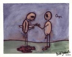 """ORIGINAL ART. Oops: Small painting of a figure """"accidentally"""" stabbing another with a sword."""