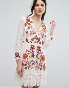 French Connection Legere Lace Dress white asos