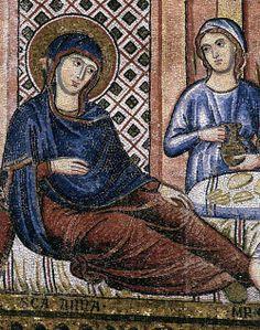De Pietro Cavallini  Peintre italien, école romaine (actif de 1273 à 1308 à Rome)  Nativité de la Vierge (détail)  1296-1300  mosaïque  de Santa Maria in Trastevere, Rome   Photo