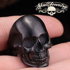 Back in Black Stainless Steel Skull Ring - Matte Black Skull Ring – SkullJewelry.com