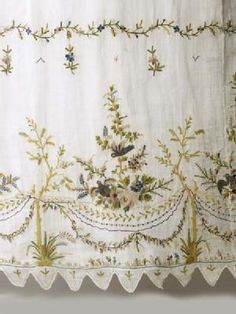 Detail of tambour embroidery from a dress c. 1790. Museum of London