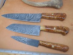 Custom Damascus Chef Knife Set With Olive wood Handles Mosaic pins Damascus Chef Knives, Damascus Steel, Chef Knife Set, Knife Sets, Low Carbon, High Carbon Steel, Aspen Wood, Skinning Knife, Specialty Knives