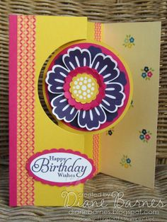 Stampin Up Mixed Bunch flower flip birthday card with thinlits card dies by Di Barnes #stampinup #stampinupau #colourmehappy