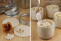 Oh, a super yummy gift idea! Mini Pies baked in a Jar. great for giving or freeze and keep for yourself when your craving pie pop them in the oven! Mason Jar Pies, Mason Jar Meals, Meals In A Jar, Canning Jars, Just Desserts, Dessert Recipes, Jar Recipes, Individual Pies, Breakfast