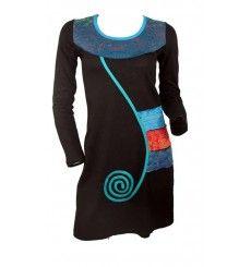 Robe tunique ethnique bandes colorées et spirale