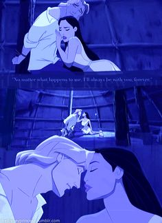 day 15 most romantic moment: when Pocahontas thinks she is seeing john smith for the last time before he is sentenced to death.