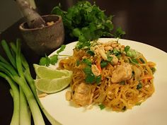 Chicken Pad Thai made with Spaghetti Squash - use tamari, almond butter and cashews instead for grain free